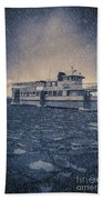 Ship In A Snowstorm Beach Towel