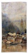 Shipping On The Hudson River Beach Towel by Samuel Colman