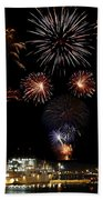 Ships And Fireworks Beach Towel