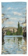 Ships Riding On The Seine At Rouen Beach Towel