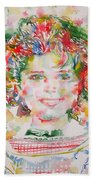 Shirley Temple - Watercolor Portrait.1 Beach Sheet