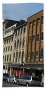 Shops And Buildings Along Rue Saint-paul Old Montreal Beach Towel