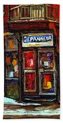 Shops And Streets Of St Henri- Montreal Paintings Depanneur Coca Cola Winter City Scenes Beach Towel