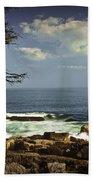 Shoreline View In Acadia National Park Beach Towel