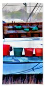 Shrimp Boat Buckets Beach Towel