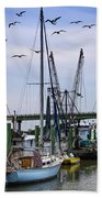 Shrimp Boats At Lazaretto Creek Beach Towel
