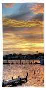 Shrimp Boats At Sunset Beach Towel by Benanne Stiens
