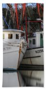 Shrimp Boats Reflecting Beach Towel
