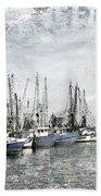Shrimp Boats Sketch Photo Beach Towel