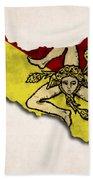 Sicily Map Art With Flag Design Beach Towel