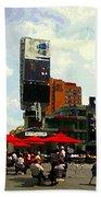 Sidewalk Cafe Lunch Break Red Umbrellas Yonge Dundas Square Toronto Cityscene C Spandau Canadian Art Beach Towel