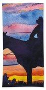 Silhouette Cowboy Beach Towel