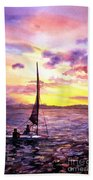Silhouette Of Boat And Sailors On Torch Lake Michigan Usa Beach Towel