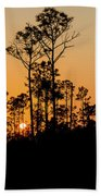 Silhouette Of Trees At Sunset Beach Towel