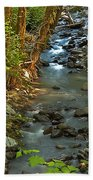 Silky Stream In Rain Forest Landscape Art Prints Beach Towel