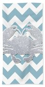 Silver Glitter Crab Silhouette - Chevron Pattern Beach Towel