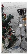 Silver Snowman With Christmas Tree Beach Towel