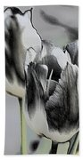 Silver Tulips Beach Towel