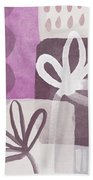 Simple Flowers- Contemporary Painting Beach Towel by Linda Woods
