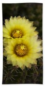 Simply Golden Cactus Flowers  Beach Towel