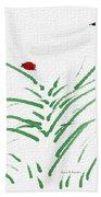 Simply Ladybugs And Grass Beach Towel