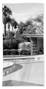 Sinatra Pool And Cabana Bw Palm Springs Beach Towel