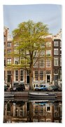 Singel Canal Houses In Amsterdam Beach Towel