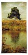 Single Pine Tree Beach Towel by Carlos Caetano