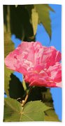Single Pink Flower Beach Towel
