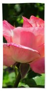 Single Pink Rose Beach Towel