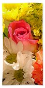Single Rose Bouquet Beach Towel