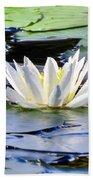 Single White Lotus Beach Towel