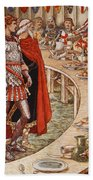 Sir Galahad Is Brought To The Court Of King Arthur Beach Towel