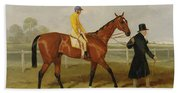Sir Tatton Sykes Leading In The Horse Sir Tatton Sykes With William Scott Up Beach Towel