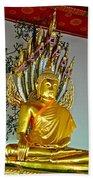 Sitting Buddha In Wat Po In Bangkok-thailand Beach Towel