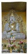 sitting Buddha made from one single marble block in KYAUKTAWGYI PAGODA Beach Towel