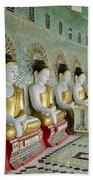 sitting Buddhas in Umin Thonze Pagoda Beach Towel