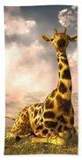 Sitting Giraffe Beach Towel