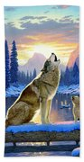 Sitting Wolf And Cub Beach Towel by MGL Meiklejohn Graphics Licensing
