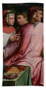 Six Tuscan Poets Beach Towel by Giorgio Vasari
