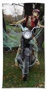 Skeleton Biker On Motorcycle  Beach Towel