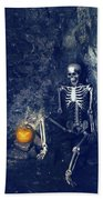 Skeleton With Jack O Lantern Beach Towel