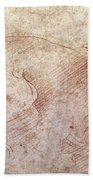 Sketch Of A Roaring Lion Beach Towel by Leonardo Da Vinci