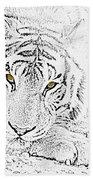 Sketch With Golden Eyes Beach Sheet