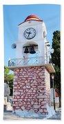 Skiathos Clock Tower Beach Towel