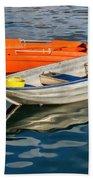 Skiffs At The Harbour Beach Towel