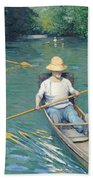 Skiffs Beach Towel by Gustave Caillebotte