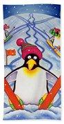 Skiing Holiday Beach Towel