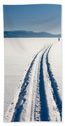 Skiing Person On Frozen Lake Beach Towel