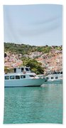 Skopelos Harbour Greece Beach Towel